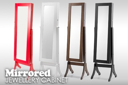 Chic Full Length Mirrored Jewellery Cabinet to Hang 144 Earrings, 48  Necklaces and More in a Choice of Colours