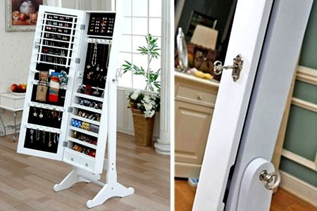 50%OFF Mirrored Multi-Storage Jewellery Cabinet deals, reviews ...
