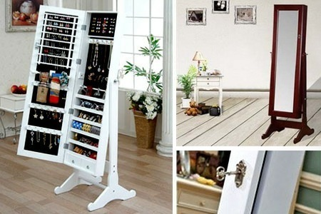 Full length dressing mirror Available in white and brown Six shelves  divided into 18 compartments 144 earring hangers, 48