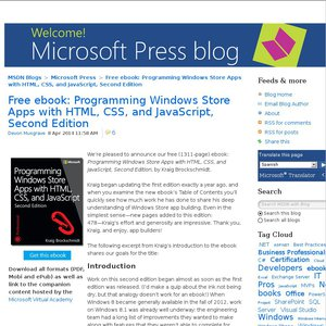 free microsoft ebook programming windows store apps with html css