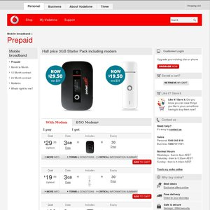 50%OFF Vodafone Prepaid 3G+ Mobile Broadband USB Deals and